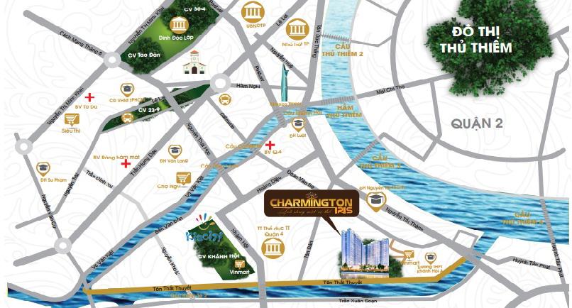 vị trí căn hộ charmington-iris-quan-4