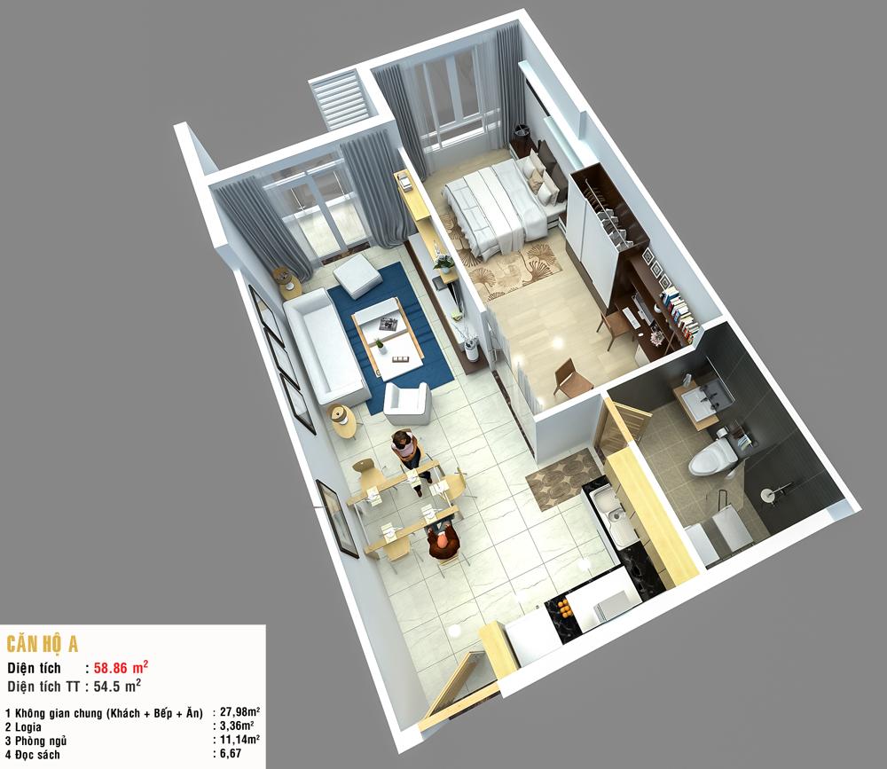 Thiết kế căn hộ 1 phòng ngủ dự án riva park