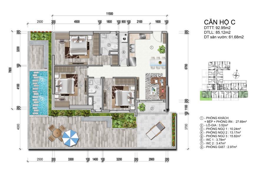 thiết kế 3 phòng ngủ căn hộ ventosa Quận 5