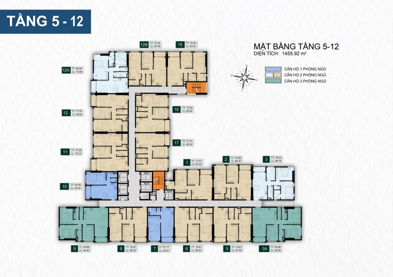 mặt bằng dự án venus luxury Quận 5  tầng 5 -12